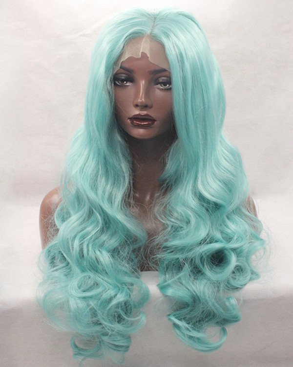 2018 New Arrival Mint Green Body Wave Synthetic Lace Front Wigs 180% Density Long Green Wavy Wig
