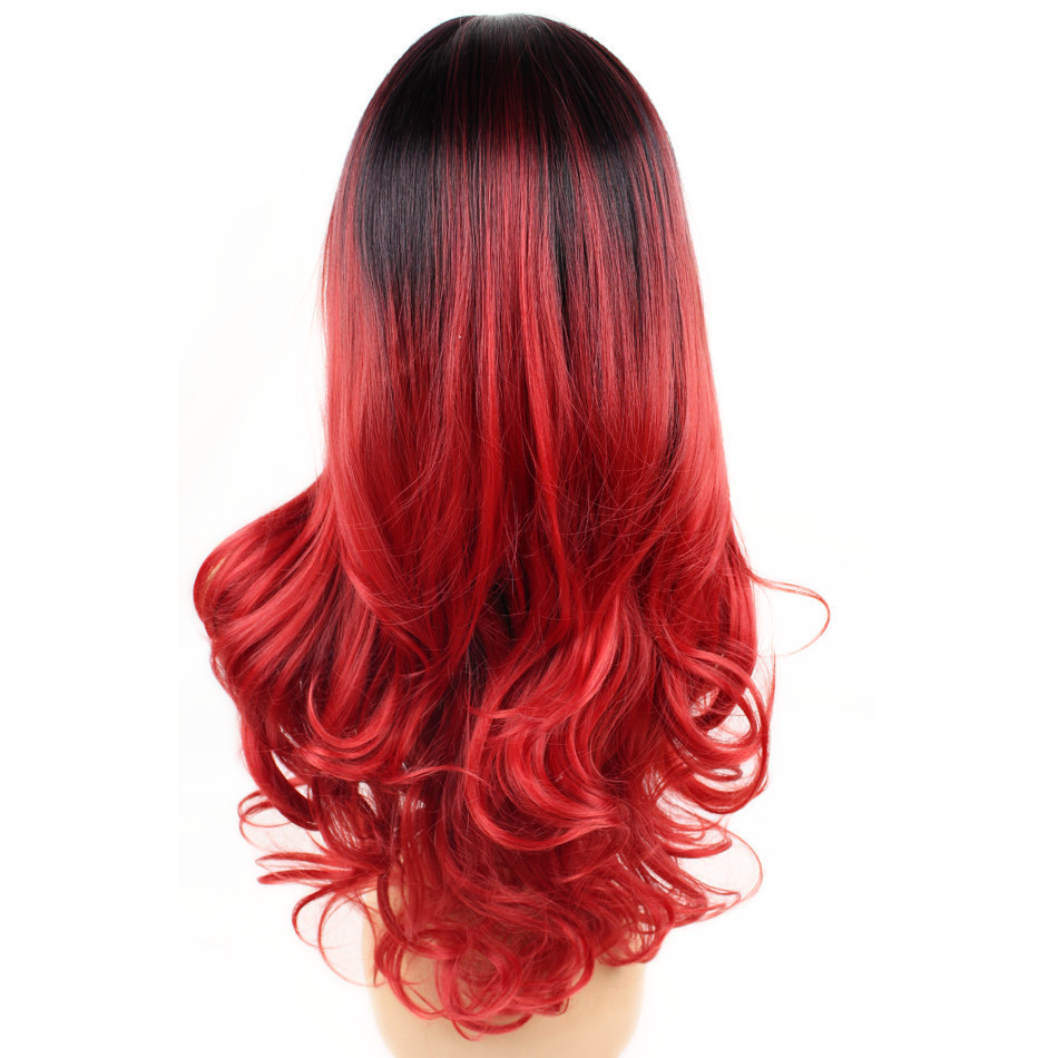 2018 Best Seller Fashion Black Red Ombre Synthetic Wig #1B/Red Long Wavy Cosplay Wig For Women