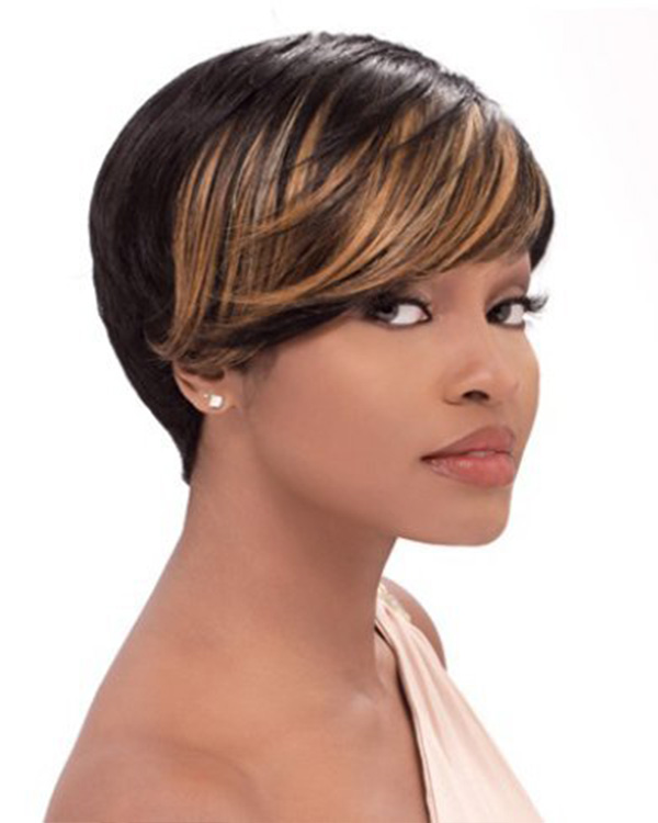 New Black Blonde Ombre Short Bob Straight Wigs Synthetic Hair Wig With Bangs