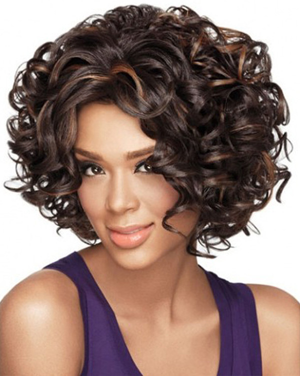 Dark Brown Short Curly Wave Wigs Synthetic Hair Wig For Women