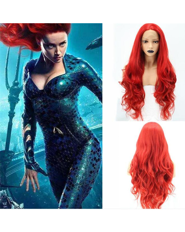 FESHFEN 2019 New Red Long Wavy Aquaman Mera Cosplay Wig Synthetic Lace Front Wig 180% Density Red Hair Lace Wig