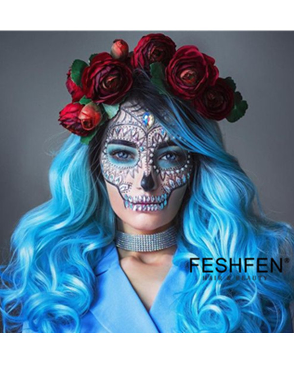 FESHFEN 2019 New Arrival Blue Long Wavy Synthetic Lace Front Wig 180% Density Elegant Blue Lace Wig