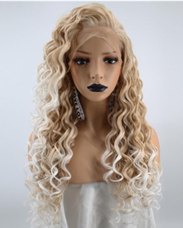 FESHFEN 2019 New Arrival Blonde White Ombre Long Curly Wave Synthetic Lace Front Wig 180% Density Blonde Lace Wig