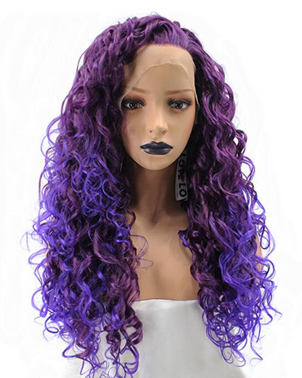 FESHFEN 2019 New Arrival Purple Ombre Afro Curls Long Wavy Synthetic Lace Front Wig Chic Purple Lace Wig
