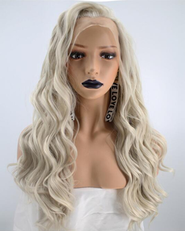 FESHFEN 2019 New Arrival Blonde Long Wavy Synthetic Lace Front Wig Light Blonde Lace Wig