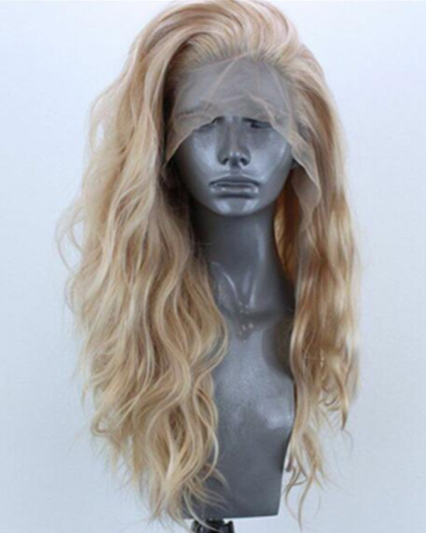 FESHFEN 2019 New Arrival Blonde Long Curly Wave Synthetic Lace Front Wig 180% Density Blonde Wavy Lace Wig