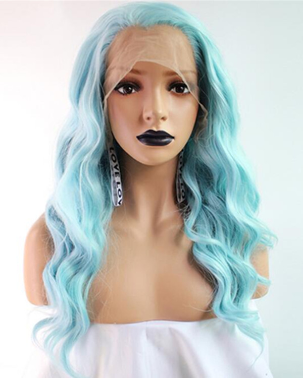 FESHFEN 2019 New Arrival Light Blue Long Wavy Synthetic Lace Front Wig 180% Density Elegant Blue Lace Wig