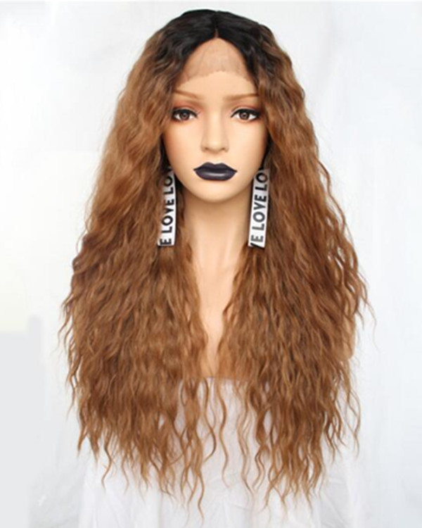 FESHFEN 2019 New Arrival Flaxen Brown Ombre Long Wavy Synthetic Lace Front Wig Brown Lace Wig