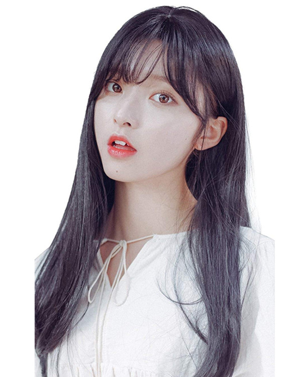 FESHFEN 2018 New Natural Look Black Long Straight Lolita Wig With Bang Costume Wig For Girls