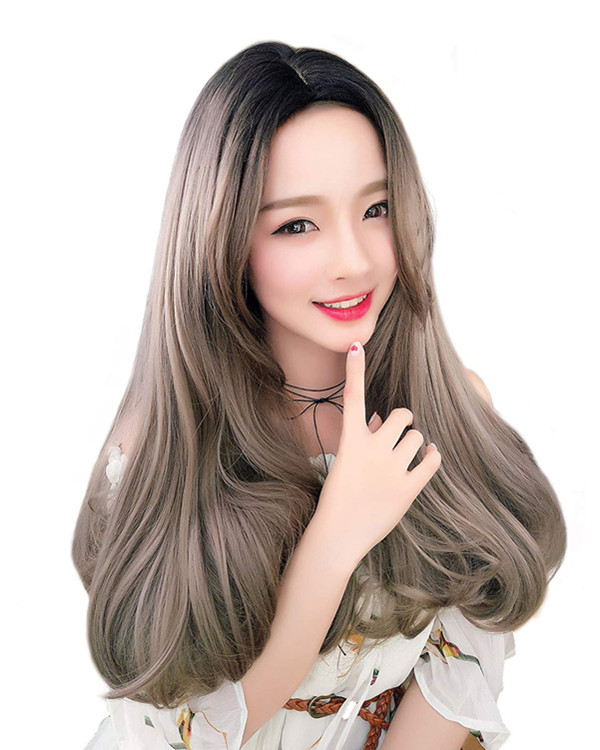 FESHFEN 2018 New Black & Ash Grey Long Wavy Lolita Wig Linen Gray Costume Wig For Women
