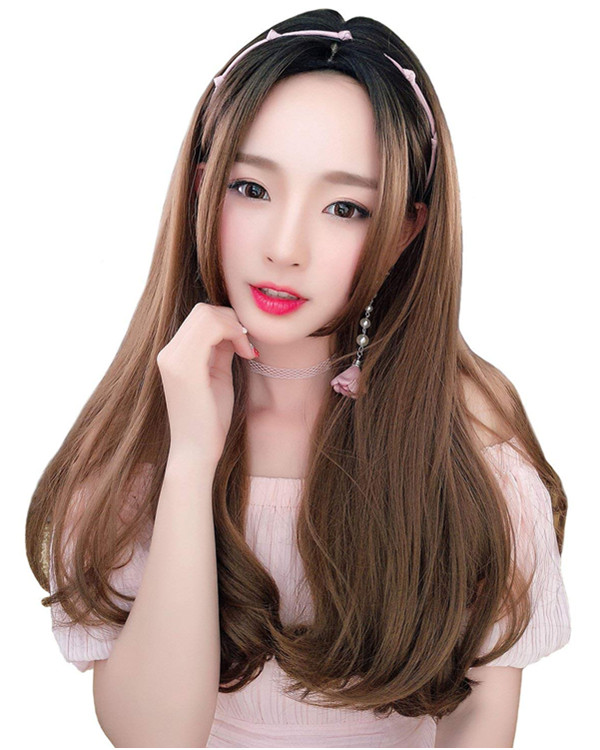 FESHFEN 2018 New Black & Flaxen Ombre Long Wavy Lolita Wig Linen Costume Wig For Women
