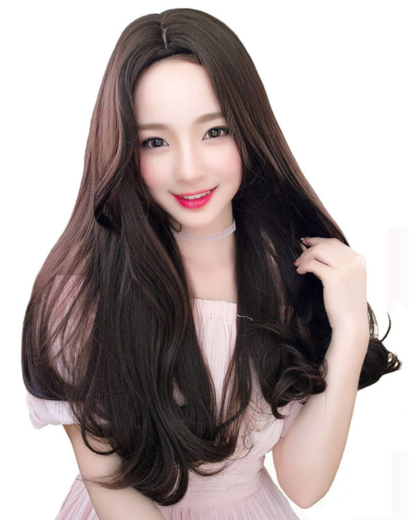FESHFEN 2018 New Chocolate Brown Long Wavy Lolita Wig Costume Wig For Women