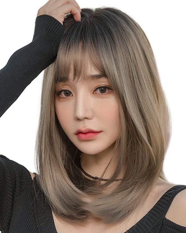 FESHFEN 2018 New Black & Ash Grey Long Straight Lolita Wig Costume Wig For Women