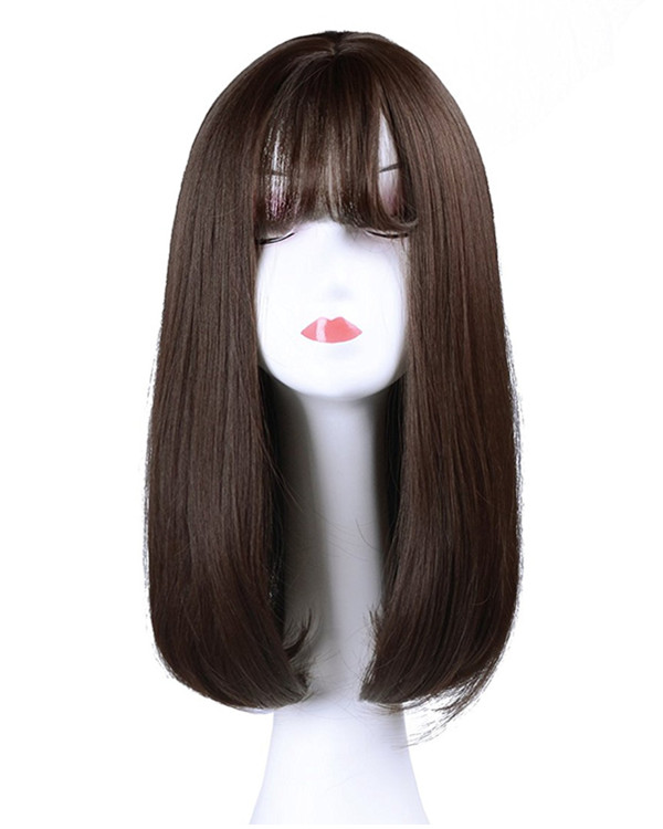 FESHFEN Hot Sale Chocolate Brown Straight Lolita Wig With Bang Auburn Medium Long Straight Costume Wig For Women Party Wig