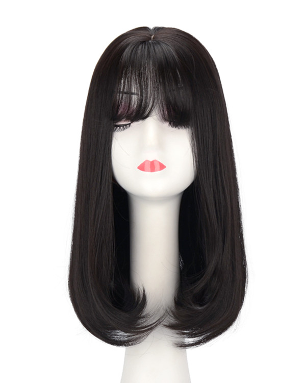FESHFEN Hot Sale Natural Black Straight Lolita Wig With Bang Medium Long Straight Costume Wig For Women Party Wig
