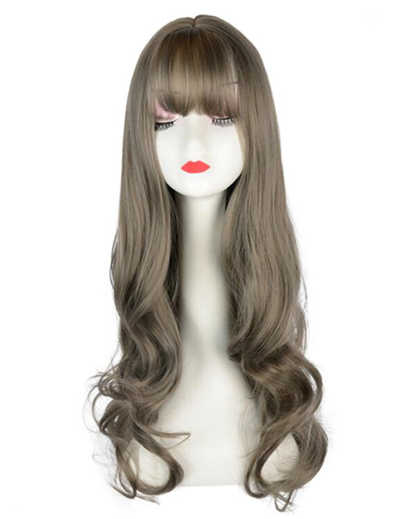 FESHFEN Brown Wavy Lolita Wig With Bang Long Wavy Costume Wig For Women Party Wig