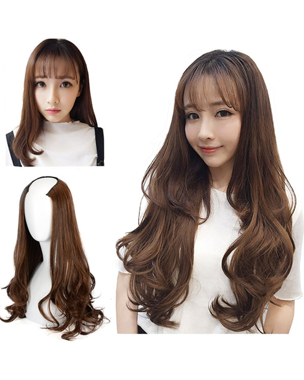 FESHFEN High Heat Resistant Long Wavy Natural Looking U-Part Synthetic Hair Wig Half Wig For Women
