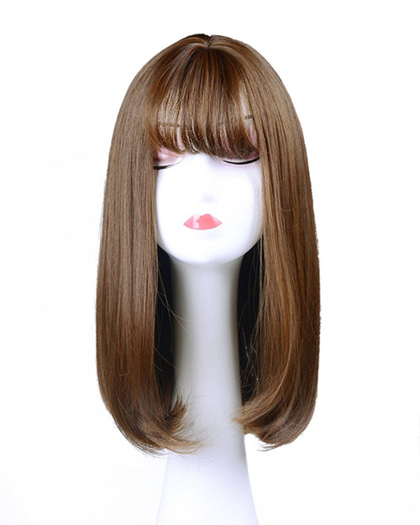 FESHFEN Hot Sale Flaxen Straight Lolita Wig With Bang Auburn Medium Long Straight Costume Wig For Women Party Wig