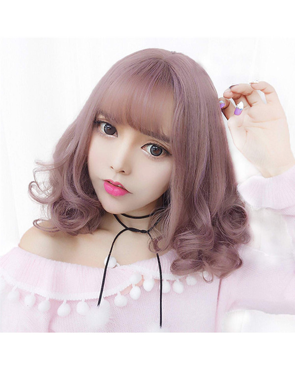 FESHFEN 2018 New Milky Lavender Short Wavy Bob Hair Cute Lolita Wig With Bang