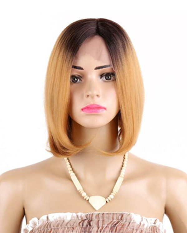 "FESHFEN 12"" Color #1B/27 Ombre Short Bob Straight Sythentic Lace Front Wigs Short Hair Lace Wig"