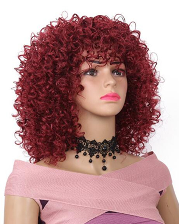 "FESHFEN 2018 New African Curls 16"" Kinky Curly #39 Burgundy Wine Red Dark Red Wig Charming Plum Red Synthetic Hair Wig"