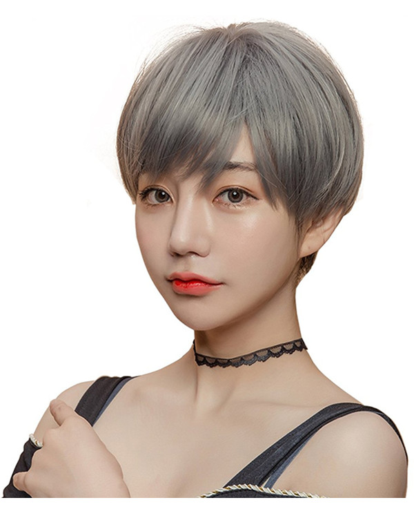 FESHFEN Chic Granny Gray Short Bob Wig For Women Fashion Grey Bobo Wig