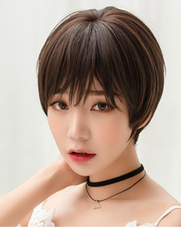 FESHFEN Chic Chocolate Brown Short Bob Wig For Women Fashion Brown Bobo Wig