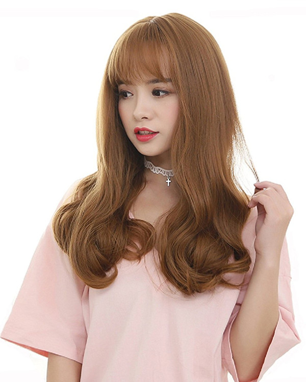 FESHFEN Flaxen Long Wavy Lolita Wig With Bang Long Wavy Costume Wig For Women Party Wig