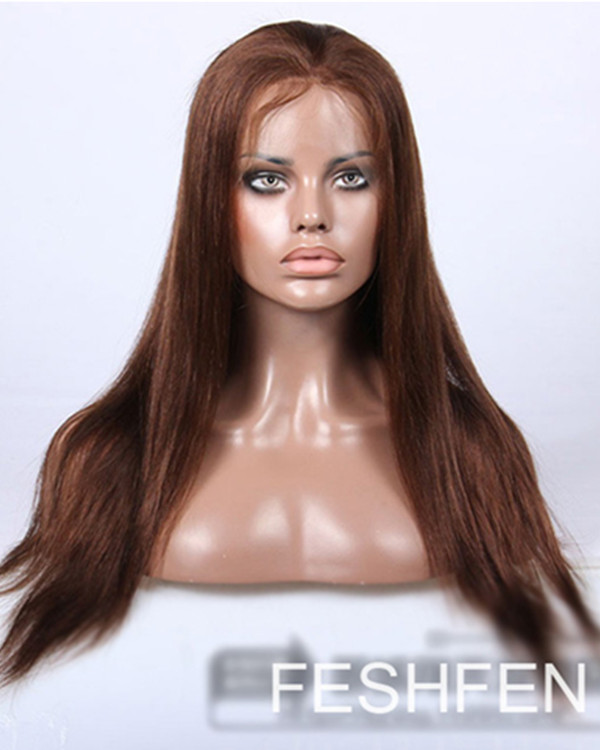 "18"" Natural Straight 100% Remy Hair Human Hair Full Lace Wigs For American Afircan-#30 Light Auburn"