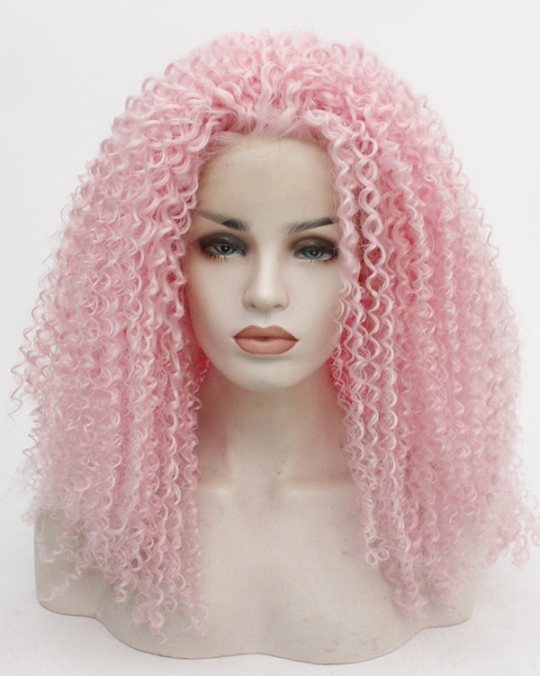 FESHFEN 2019 New Arrival Pink Long Curly Wave Synthetic Lace Front Wig 180% Density Fashionable Pink Wavy Lace Wig