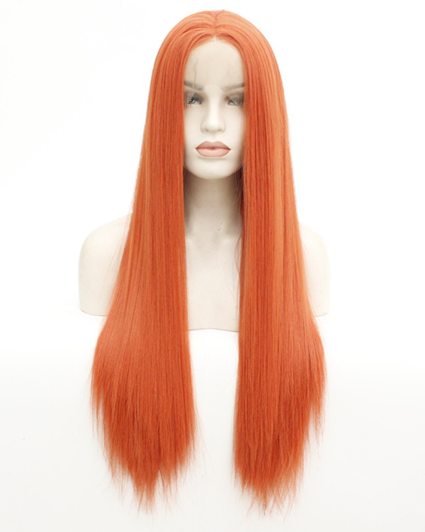 FESHFEN 2019 New Arrival Orange Long Straight Synthetic Lace Front Wig 180% Density Fashionable Orange Straight Lace Wig