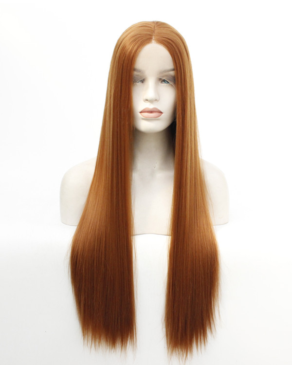 FESHFEN 2019 New Arrival #30 Light Auburn Long Straight Synthetic Lace Front Wig 180% Density Fashionable Light Brown Straight Lace Wig