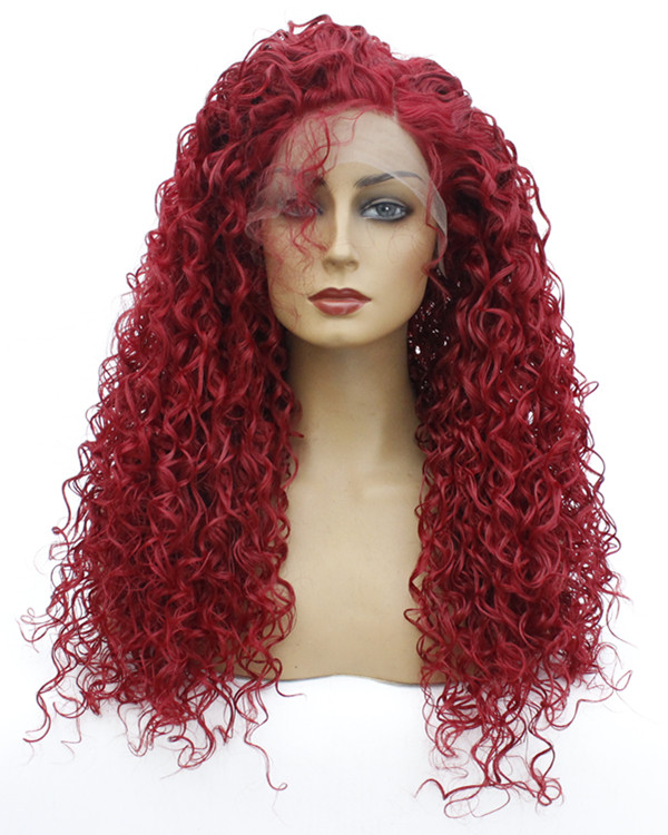 FESHFEN 2019 New Arrival Red Long Curly Wave Synthetic Lace Front Wig 180% Density Fashionable Red Wavy Lace Wig With Baby Hair