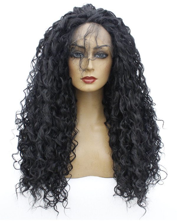 FESHFEN 2019 New Arrival Black Long Curly Wave Synthetic Lace Front Wig 180% Density Fashionable Black Wavy Lace Wig With Baby Hair