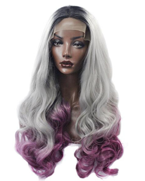 FESHFEN 2019 New Arrival Black Grey Purple Three Tones Ombre Long Wavy Synthetic Lace Front Wig 180% Density Mixed Color Lace Wig