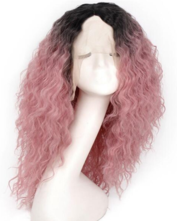 FESHFEN 2019 New Arrival Black Pink Ombre Long Curly Wave Synthetic Lace Front Wig 180% Density Pink Ombre Lace Wig