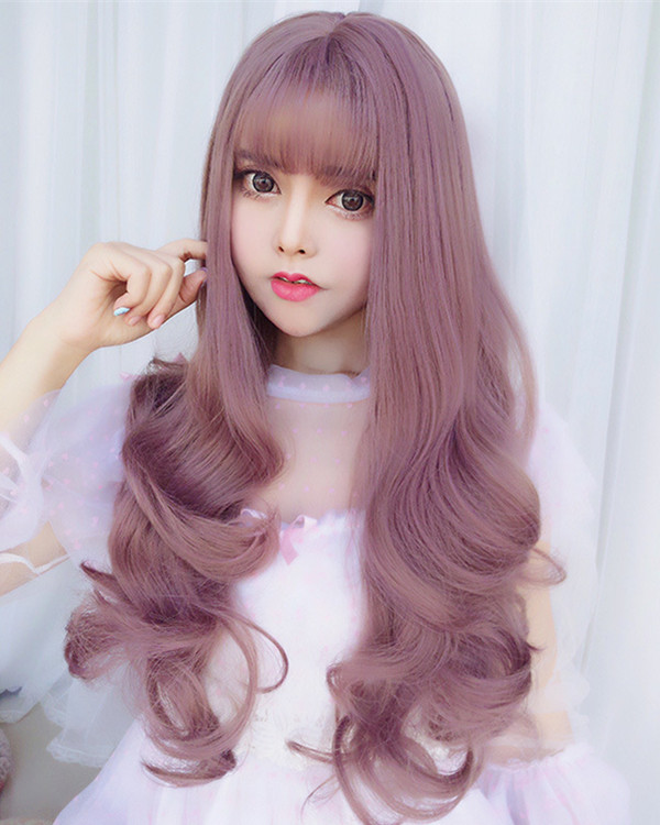 FESHFEN Milky Lavender Long Wavy Lolita Wig With Bang Cute Wavy Costume Wig For Women