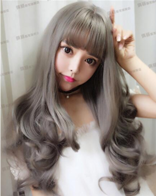 FESHFEN Trendy Grey Long Wavy Lolita Wig With Bang Cute Wavy Costume Wig For Women