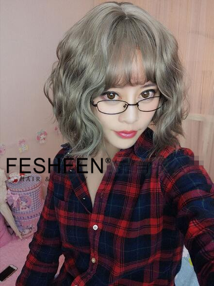 FESHFEN Granny Short Wavy Trendy Grey Cute Lolita Wig With Bang Short Wig For Women