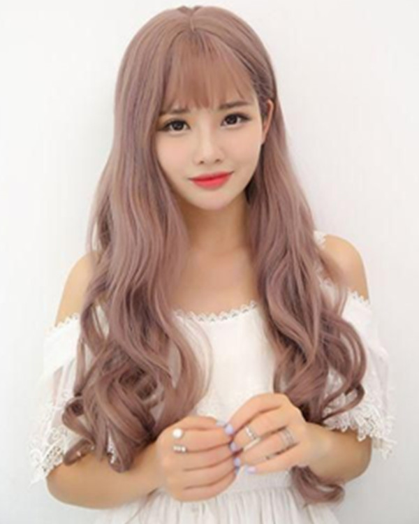 FESHFEN 2018 New Milky Lavender Long Wavy Lolita Wig With Bang Pink Women Fluffy Big Waves Costume Wig