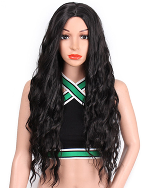 FESHFEN 2018 New Elegant Black Long Wavy Middle Part Synthetic Wig #1B Black Costume Wig For Women