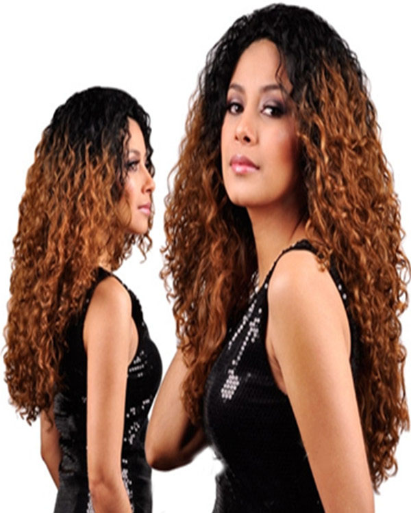 "18"" Natural Black/Auburn Ombre #1B/4/30 Kinky Curly 100% Remy Hair Full Lace Human Hair Wig"