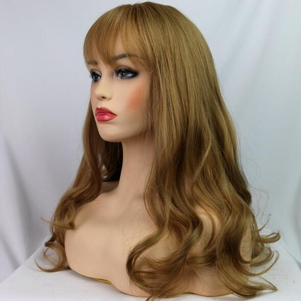 2018 New Flaxen Brown Long Wavy Costume Wig Elegant Long Wavy Wig For Women With Bang