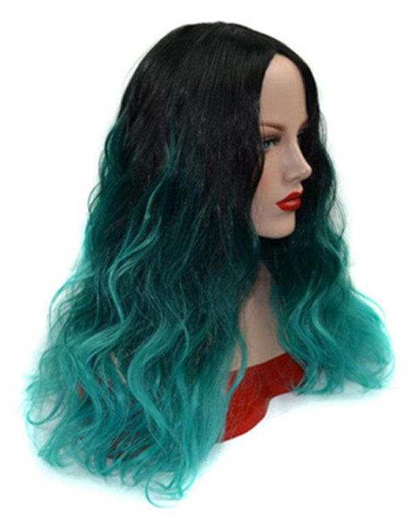 2017 New Peacock Black Green Ombre Long Wavy Wig Turquoise Teal Green Wig For Women