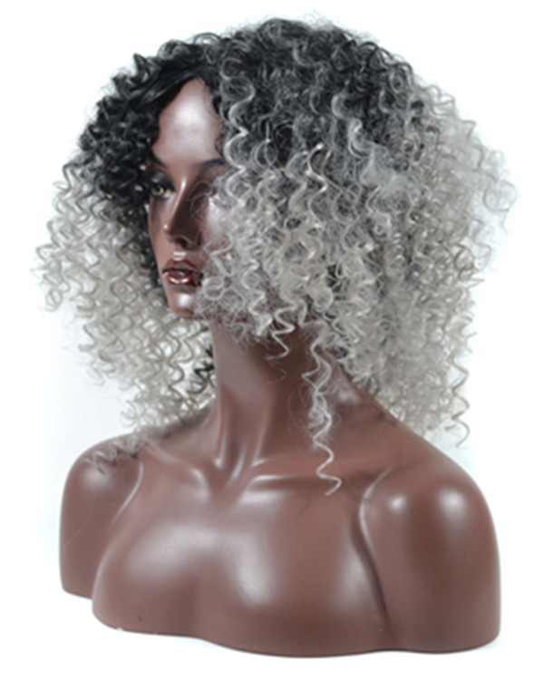 2017 New Black Grey Kinky Curly Wig Granny Grey Ombre Wavy Wig For Women