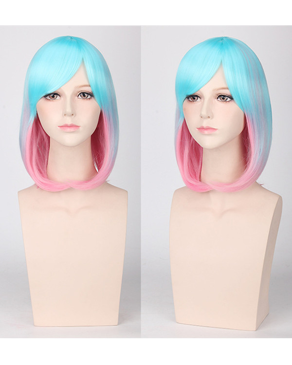 FESHFEN Blue Pink Ombre Mermaid Wig Unique Coloring Blue Ombre Costume Wig For Women