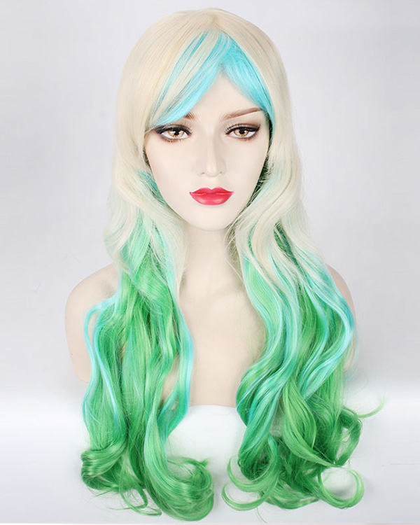 Fashionable Colorful Long Wavy Cosplay Wig Mermaid Brown Blue Green