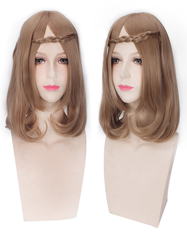 Elegant Brown Lolita Costumes Wig Medium Length Wavy Cosplay Wig For Women