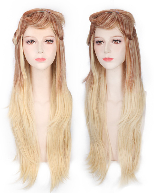 Elegant Blonde Costumes Wig Long Wavy Cosplay Wig For Women