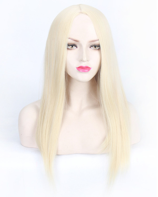 FESHFEN Elegant Middle Part Medium Long Straight Blonde Cosplay Wig Costume Wig For Women Party Wig